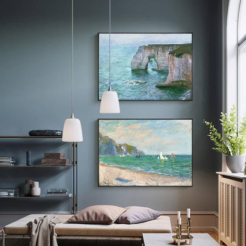 。莫奈油画世界名画海岸风景抽象画客厅装饰画艺术餐厅挂画卧室墙