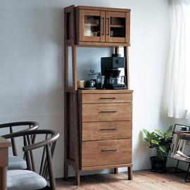 日式餐边柜实木高柜现代简约厨房置物茶水柜小户型玻璃门橱柜碗柜图片