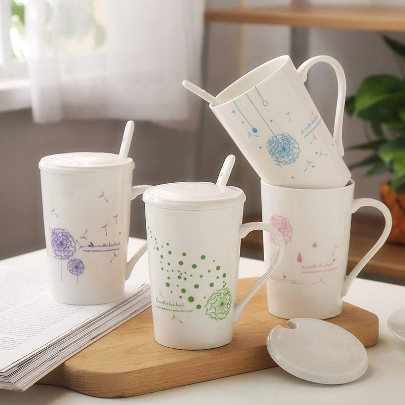 热情侣办公室水杯咖啡杯子骨瓷马克杯带盖带勺子简约一对有盖女卖