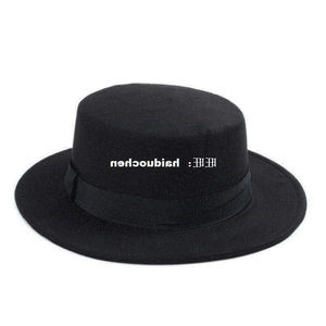 New Fashion Wool Pork Pie Boa Flat Top Hat For Women's Me