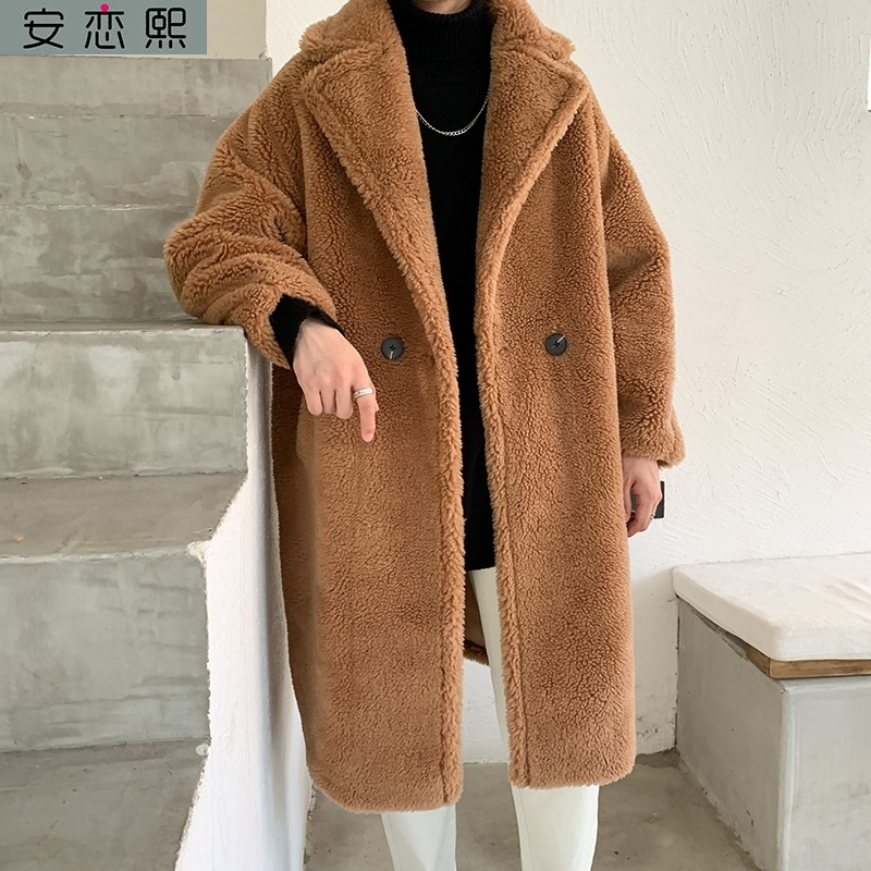 Suit collar Polo coat long fur integrated suede Plush coat Teddy thickened mens cotton padded suit over the knee pear