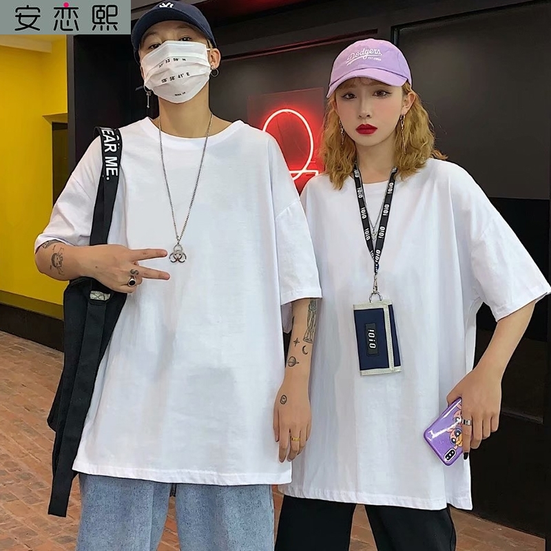 Clean cotton no pattern college entrance examination smooth board wordless t-shirt mens five point sleeve loose short sleeve body pure white simple