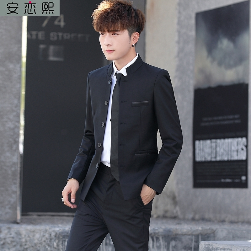 Men in Zhongshan suit, young self-cultivation, hermit, handsome college student suit, Chinese style formal suit, professional suit, autumn and winter stand collar