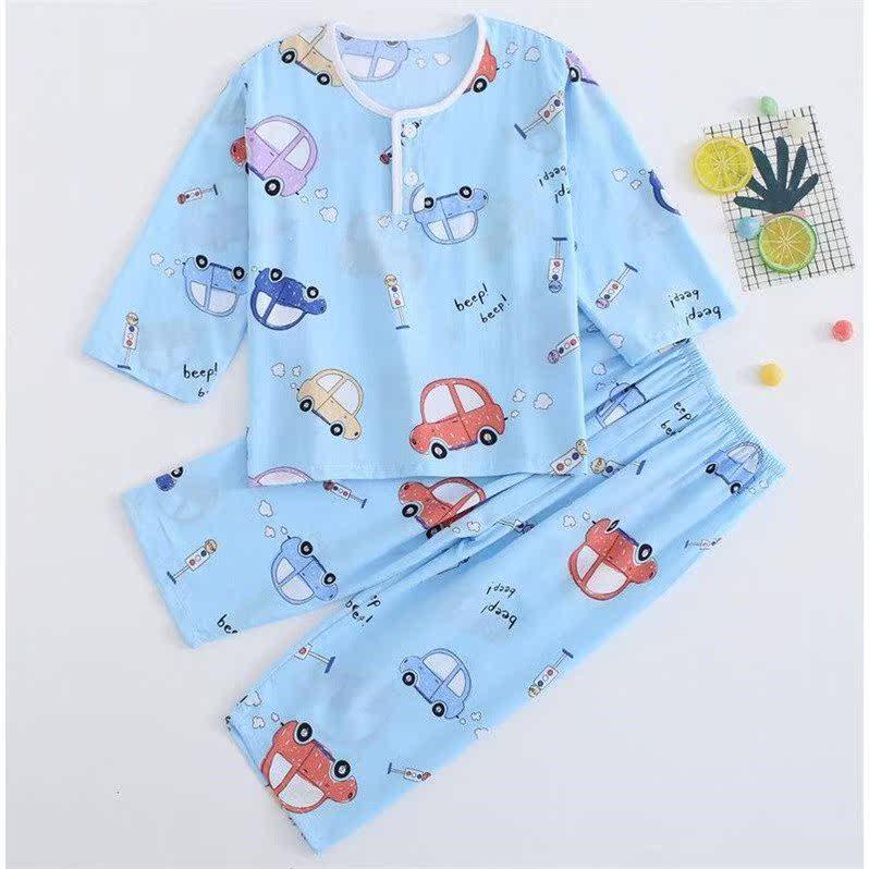 中國代購|中國批發-ibuy99|睡衣男|儿童棉绸睡衣夏季薄款男孩女童绵绸长袖宝宝空调服卡通家居服套装