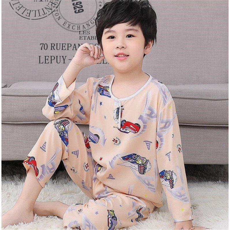 中國代購|中國批發-ibuy99|睡衣男|夏季长袖儿童睡衣绵绸套装男女童小孩小童宝宝棉绸空调家居服棉绸