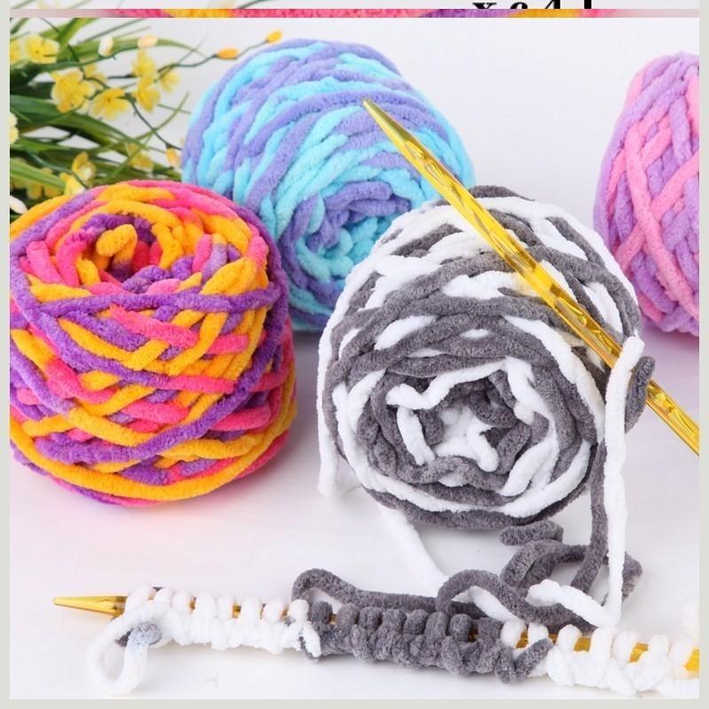 粗线毛冷线毛线球围巾编织羊毛针织毛球手工线红色儿童绒球绒绒