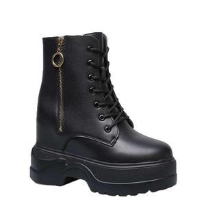 网红瘦瘦靴内增高马丁靴女鞋小个子8cm英伦小码秋季厚底单靴短靴