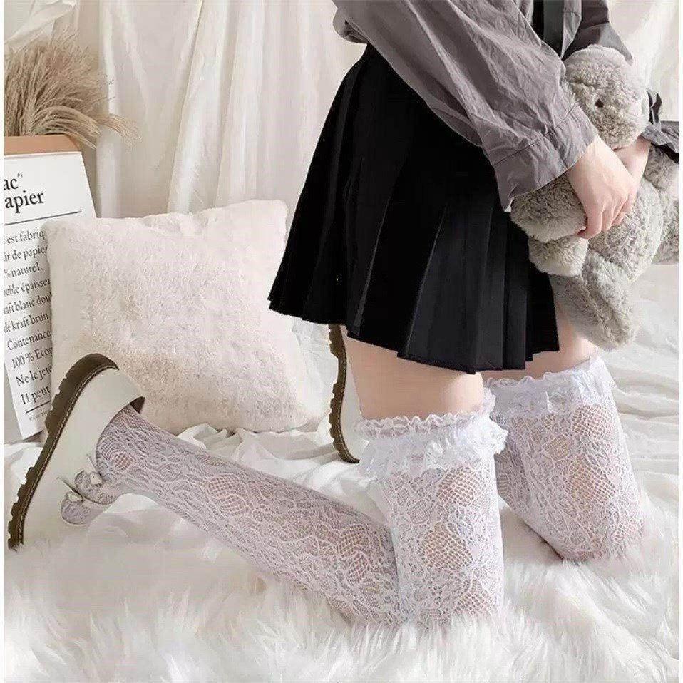 长筒蕾丝花边过膝袜lolita白丝中筒小腿袜夏季薄款jk黑丝镂空网袜