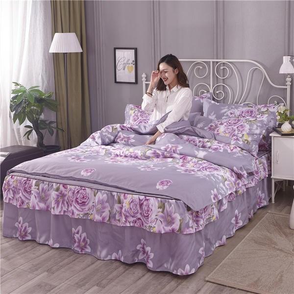 。结婚红色纯棉床裙款四件套全棉1.8m床上用品加厚床罩4三件套1b