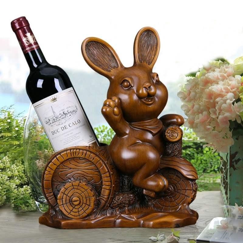 欢型红酒架摆件酒柜装饰品客厅电视柜办公桌摆设生肖兔酒架