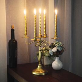 欧式复古做旧米白铁艺烛台 拍摄摆拍道具 家居装饰北欧家居摆设