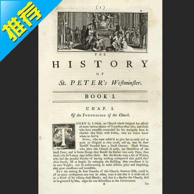 /西敏寺教會根源史裝飾畫7雕刻凹版歷年古董銅版畫1723歐洲英國