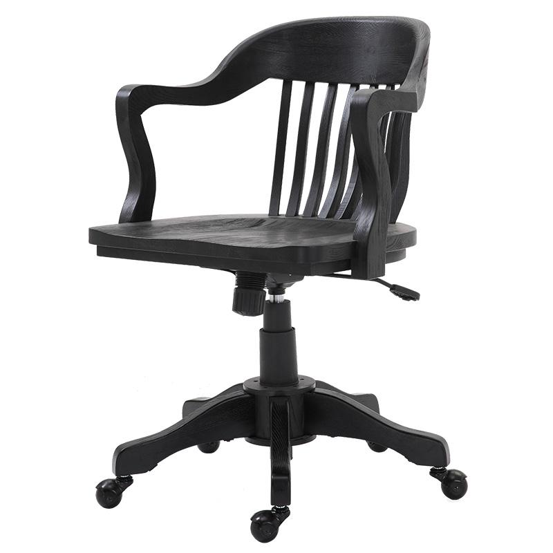 【自营】恒林电脑椅实木木质电脑椅美式古典风升降老板椅5007