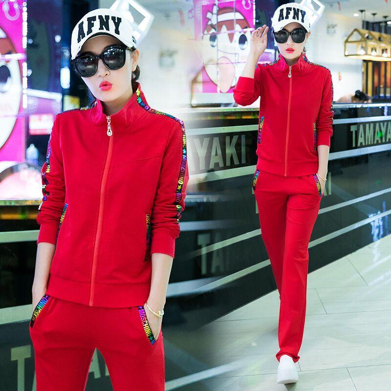 高含棉2019春秋韩版休闲运动服时尚宽松套装女修身显瘦大码两件套