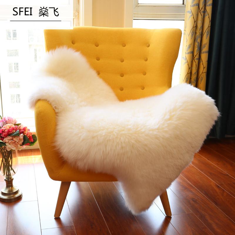 整张羊皮 家用纯羊毛真皮沙发椅子垫羊皮毛一体卧室床边地毯冬季