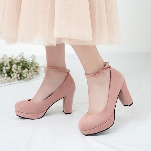 2021春夏季新款高跟四季单鞋粗跟磨砂绒面防水台一字扣带浅口女鞋