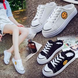 帆布鞋半托新款女鞋夏季一脚蹬小白鞋懒单鞋女学生休闲板鞋韩版女图片