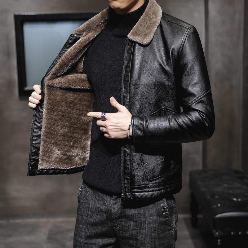 冬季男士皮衣机车翻领韩版修身加绒保暖青年PU冬天外套黑色皮夹克