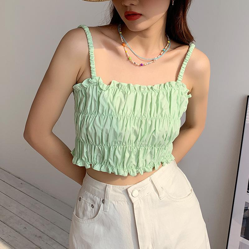 2021夏季新款小个子褶皱吊带小背心女性感抹胸美背短款内搭上衣潮