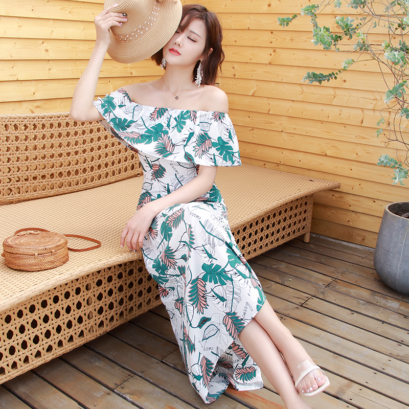 Dress 2019 new summer Floral Chiffon Long Skirt One Line collar French style retro long skirt off Shoulder Beach skirt women
