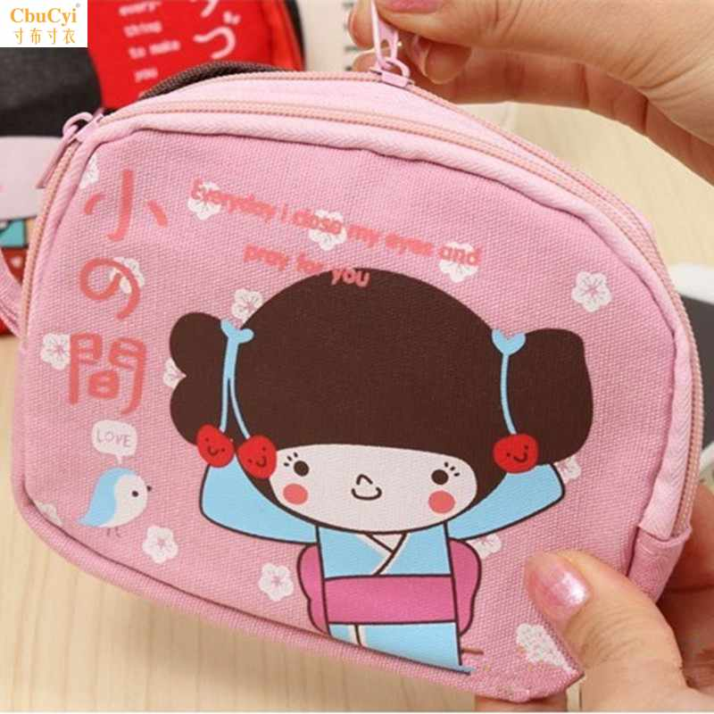 Cute change purse small purse Japanese cartoon horizontal canvas key mobile phone bag with double zippers for women