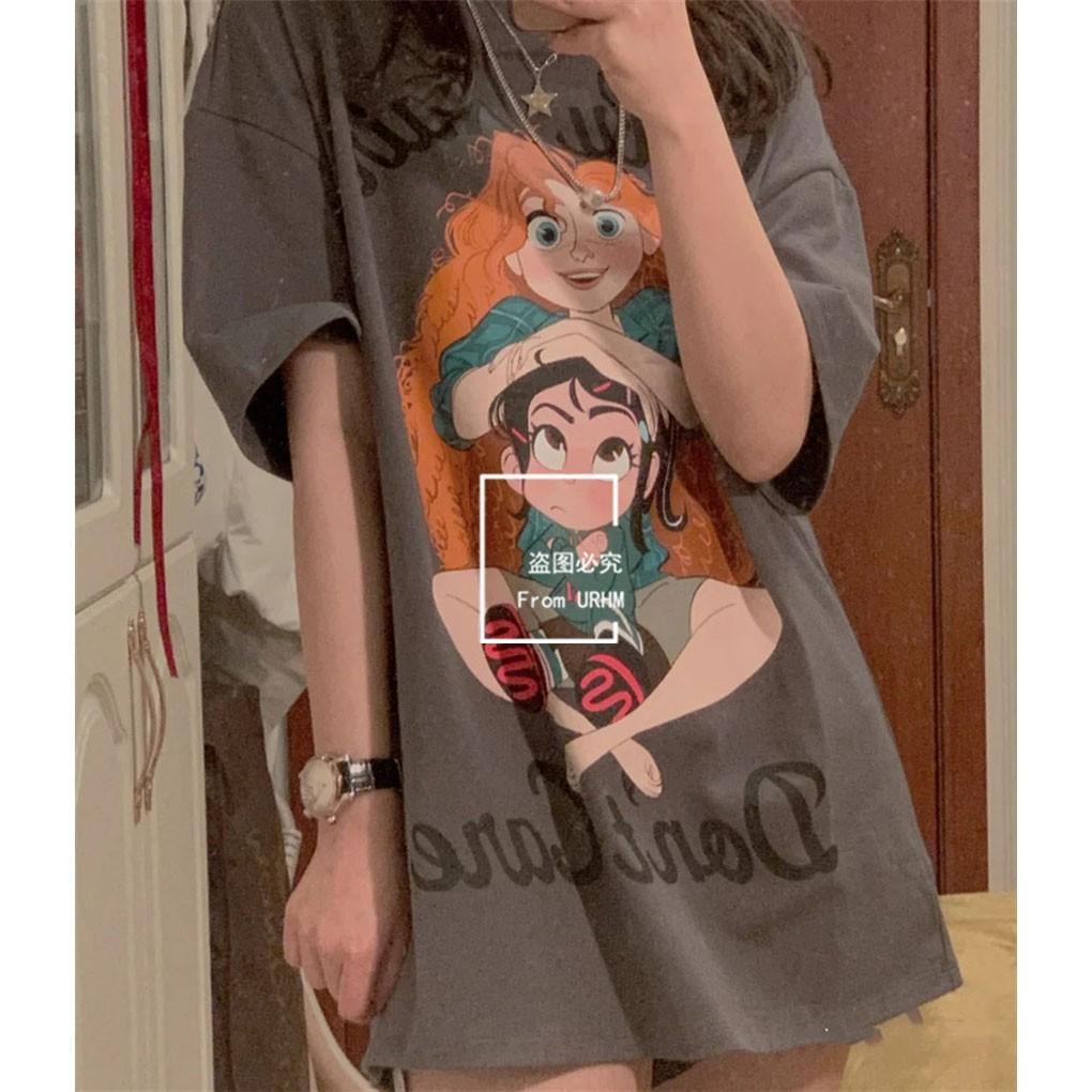 YT&UR女装2021春夏新款卡通印花宽松纯棉短袖T恤女 WJ06S4MN2004