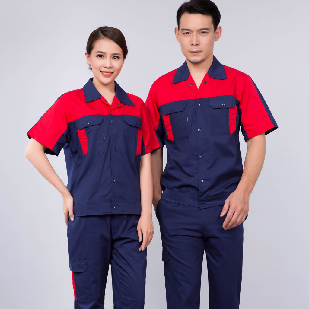 Summer short sleeve engineering uniform factory workshop Porter clothing auto club car washing clothes mechanical mold