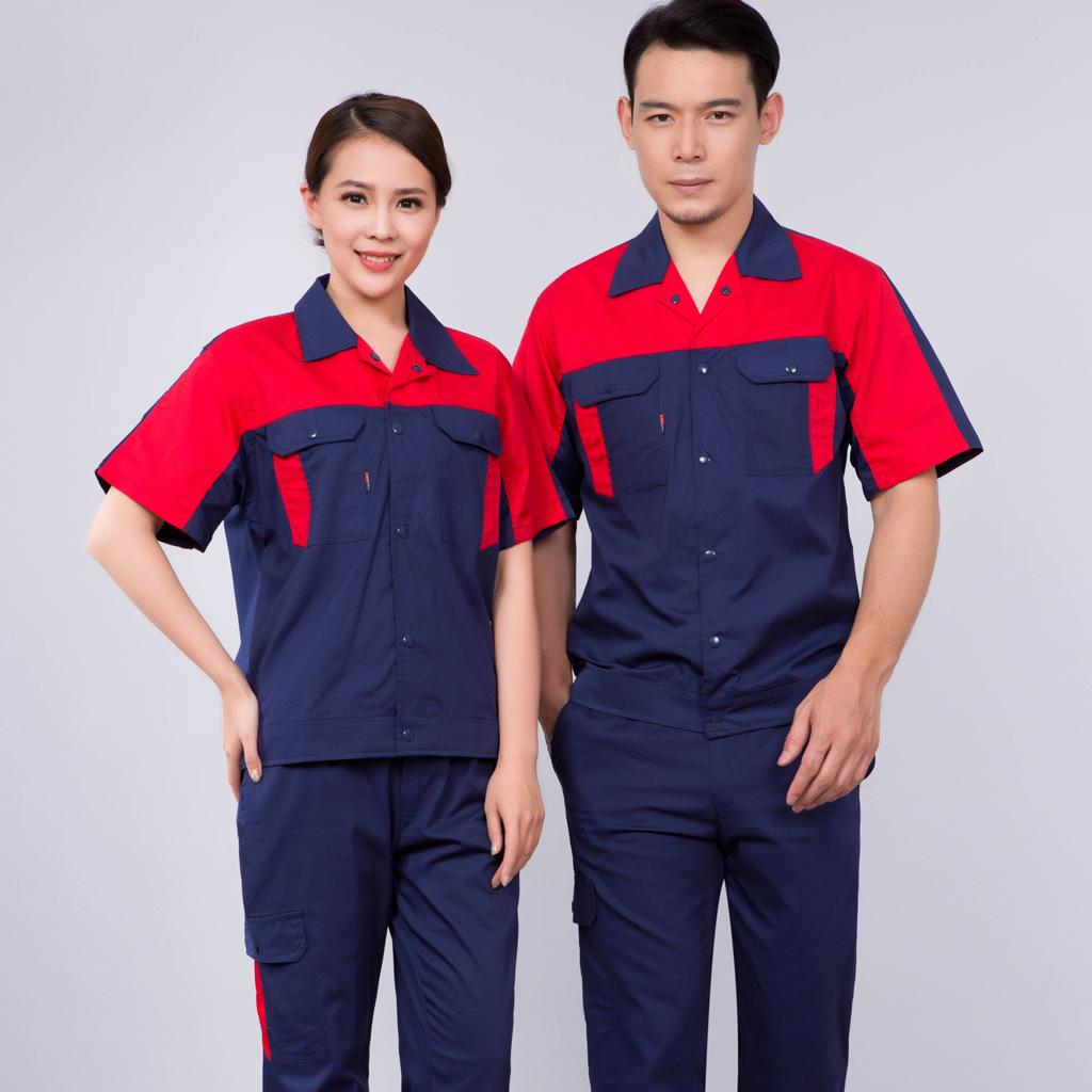 Summer short sleeve engineering uniform factory workshop Porter clothing car club washing machine mold
