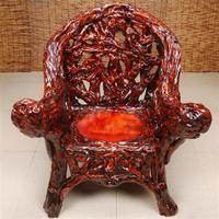 高档艺古师椅杜鹃根雕凳s子实圈新中式古靠背椅子复太木椅座