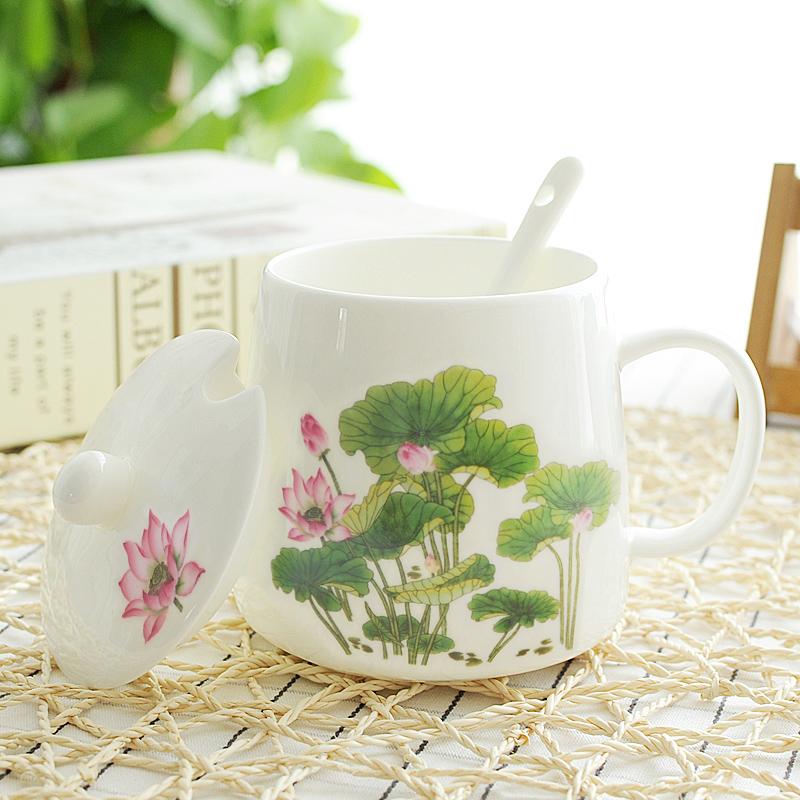 骨瓷马克杯带盖勺大容量带莲花图案的杯子荷花陶瓷水杯女士办公室