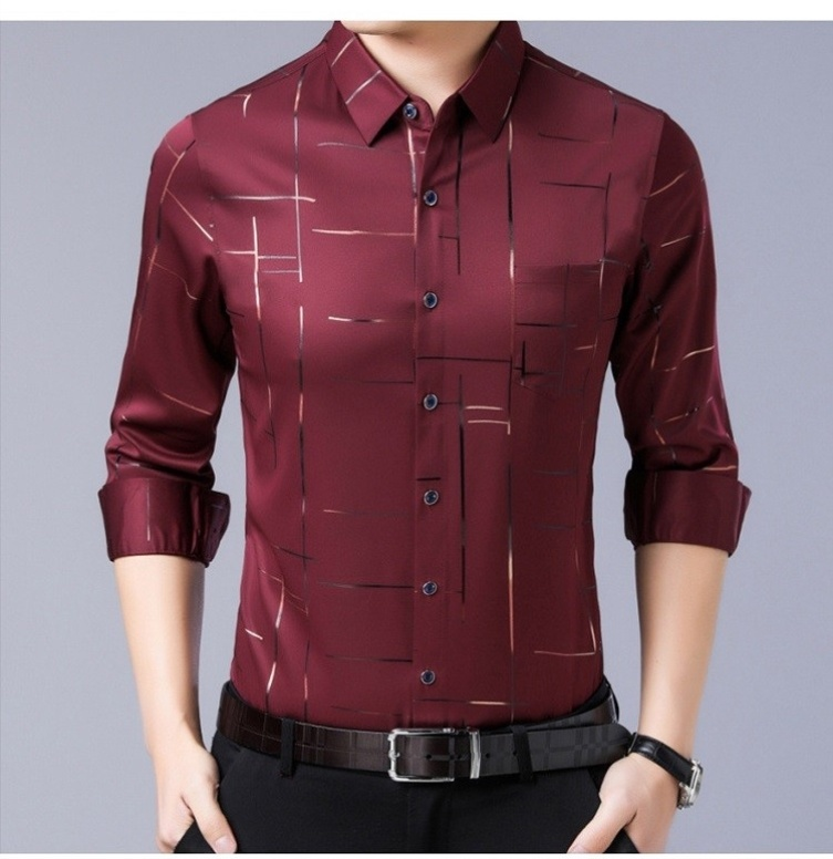 Mens natural ice silk shirt half sleeve non iron middle-aged summer thin lead long sleeve Korean summer short sleeve formal wear