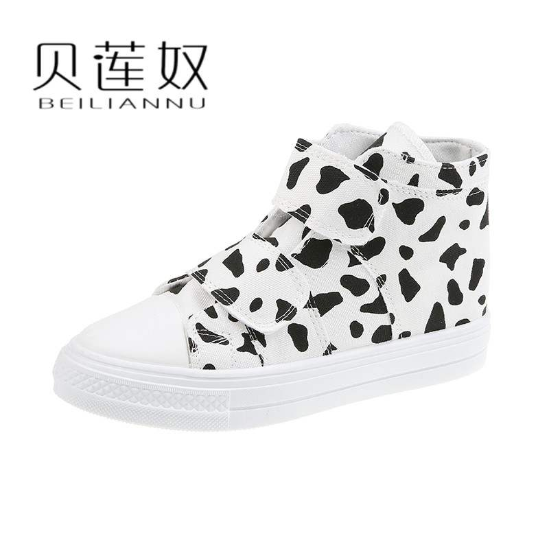 Cow magic stick canvas shoes women high top Yamamoto 2020 New Cute board shoes milk shoes Japanese shoes autumn