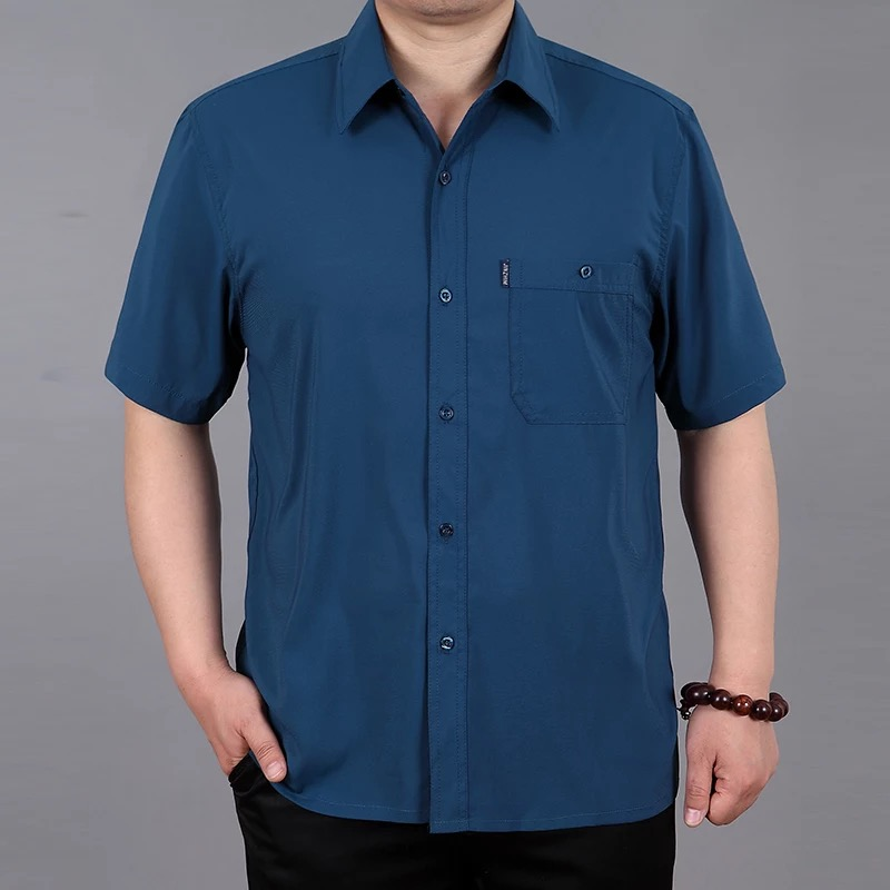 Summer new mens heavy weight silk short sleeve shirt middle aged and old mens loose large casual copper ammonia shirt