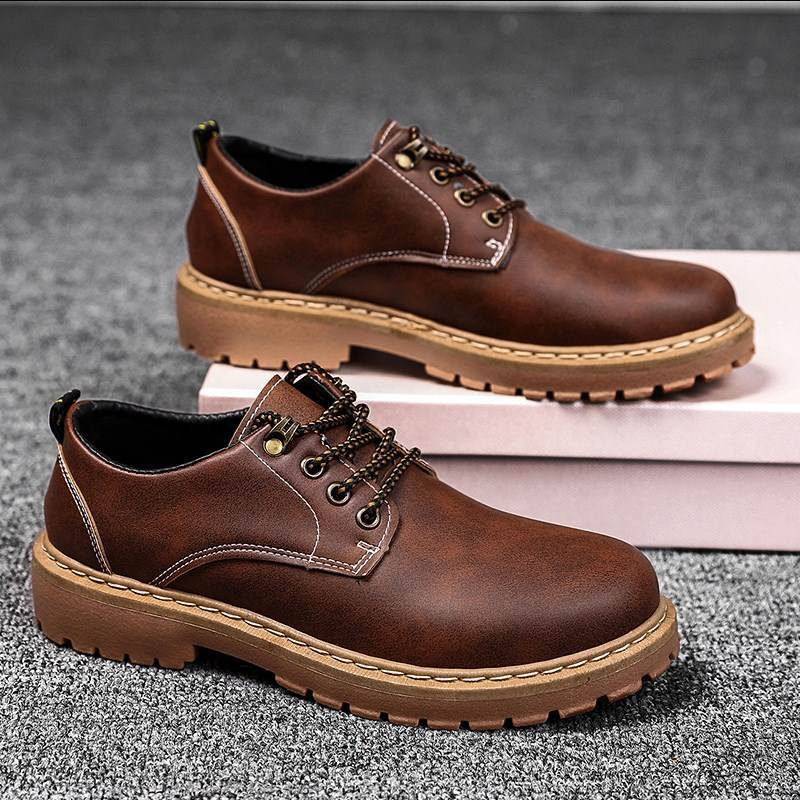 Official Martin boots mens low top shoes Korean fashion desert leather boots Short Boots Mens Boots