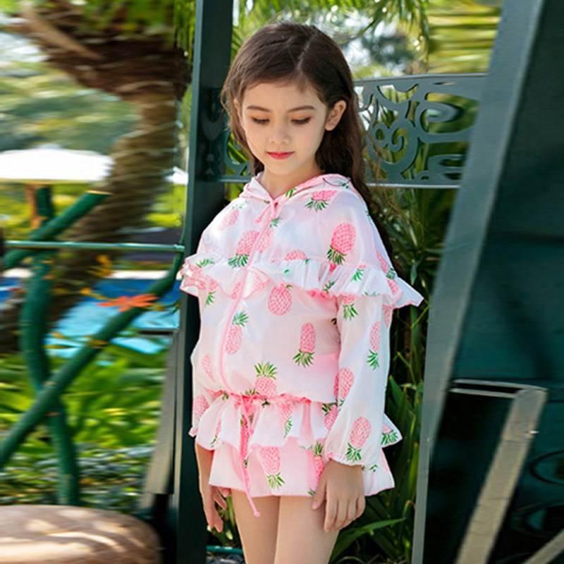 儿童泳衣女分体裙式大中小童女孩公主裙式宝宝泳装女童温泉游泳衣