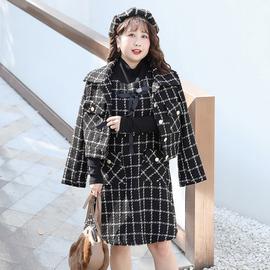 加肥加大码呢子格子短款外套马甲背心裙两件套连衣裙气质胖mm秋冬