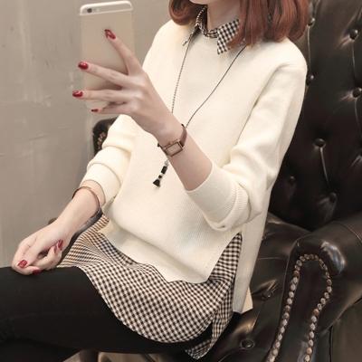 气质休闲带有衬衣领的毛衣女衬衫领针织衫女秋季女款时髦女人修身