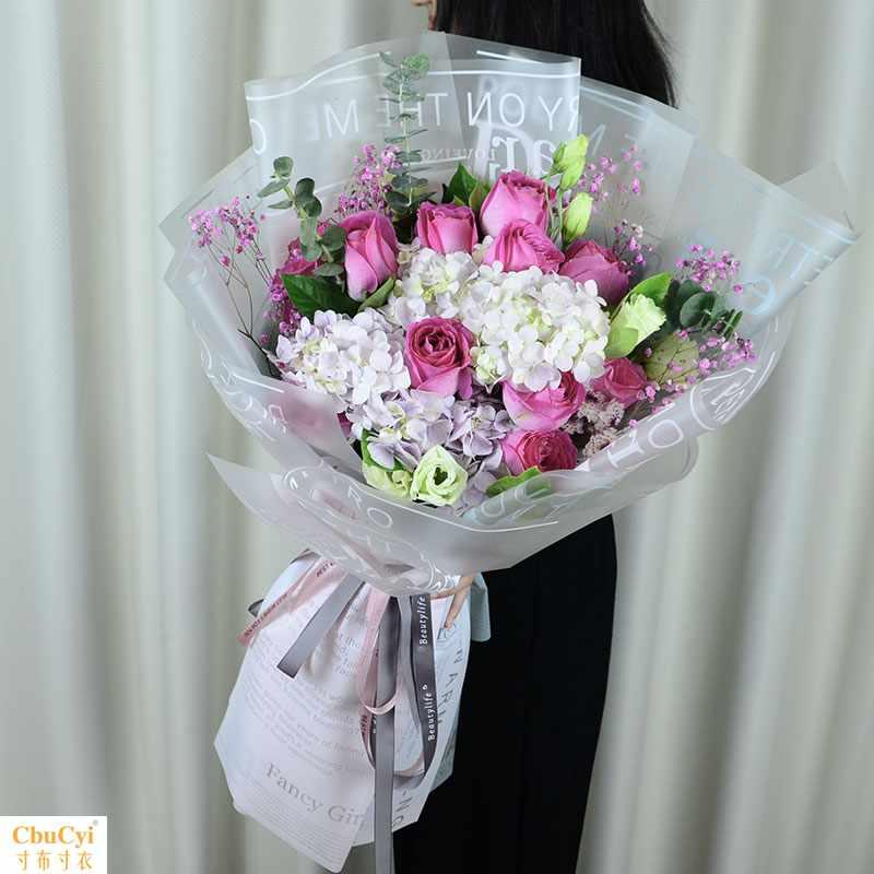 粉红色康乃馨玫瑰百合混搭花束 送老师教师节生日同城速递天津
