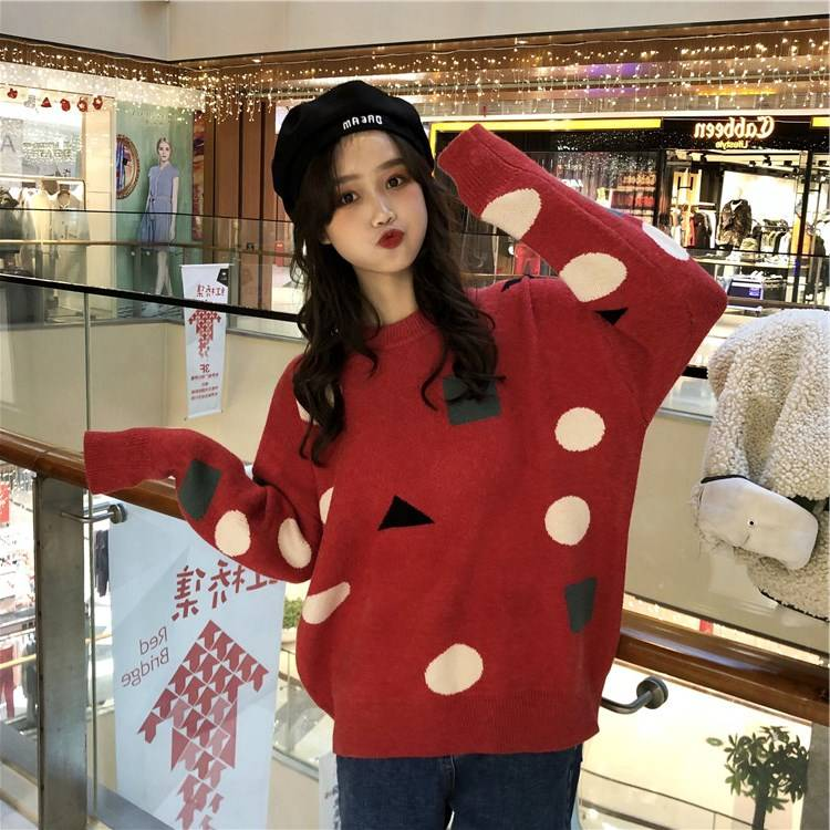 Autumn and winter Pullover loose and lazy style Christmas Sweater female geometric pattern bright red knitted bottom sweater thickened