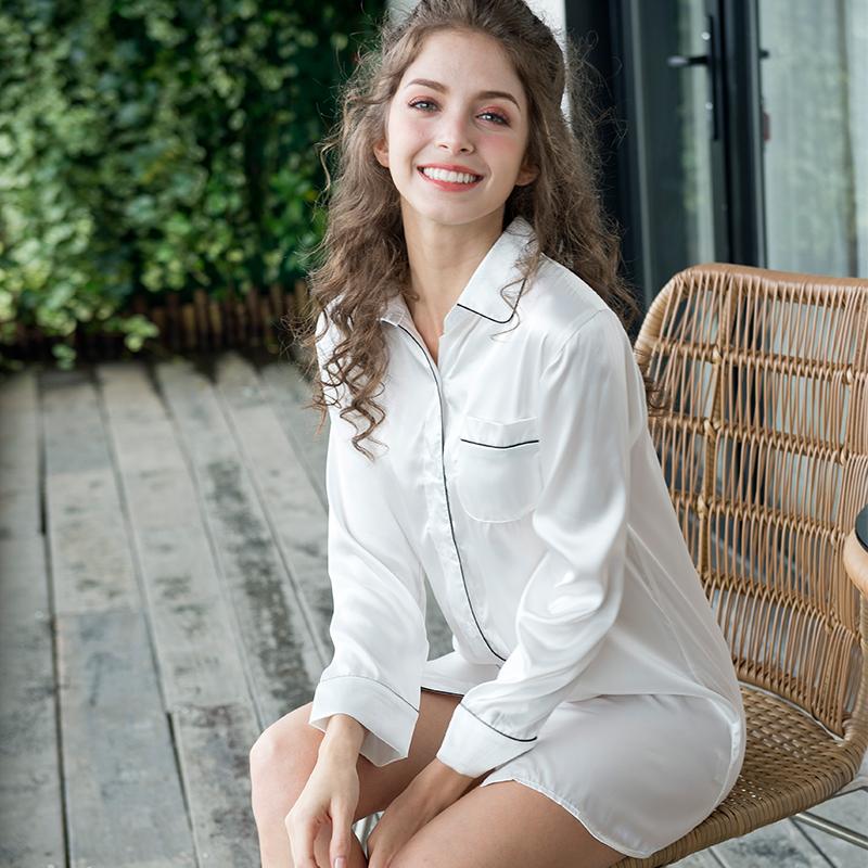 冰丝睡裙夏季真丝绸韩版性感衬衫限10000张券