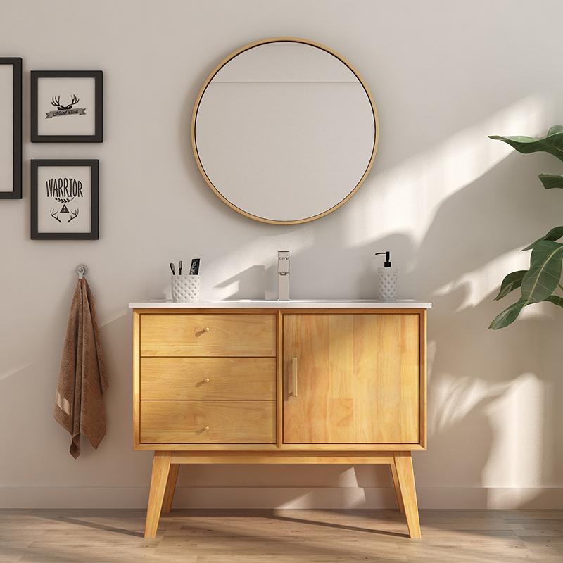 北欧橡木浴室柜组合日式洗脸洗手盆池现代简约洗漱台盆卫生间落地