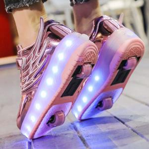 轮滑暴走鞋旱冰溜冰鞋变形鞋双排四轮滑冰可走滑鞋
