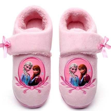 冰雪奇缘爱莎公主冬季保暖加绒加厚儿童女中大童魔术贴包跟棉拖鞋