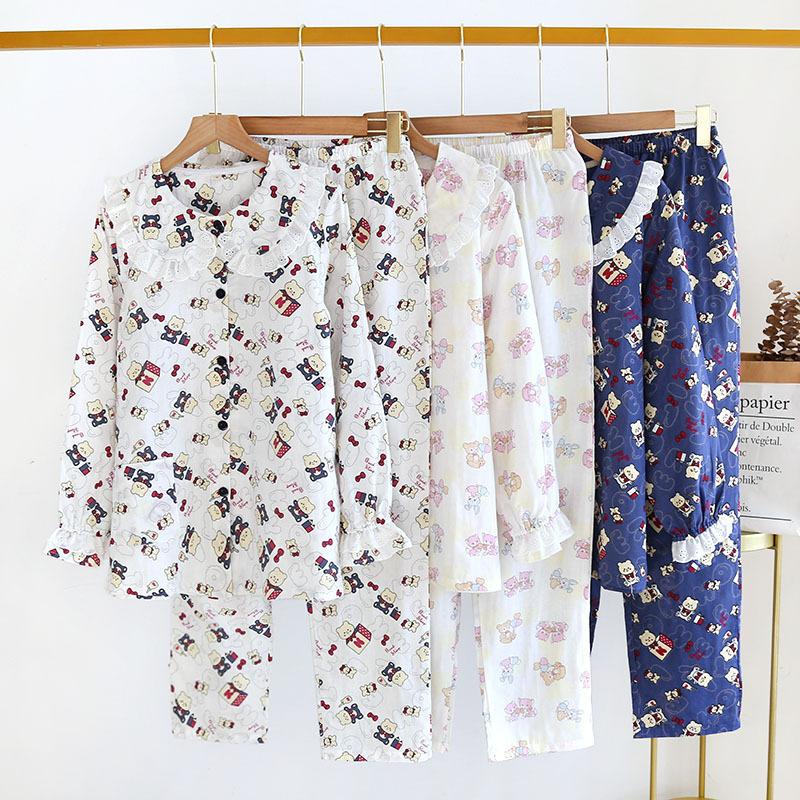 娃娃领卡通小熊棉质双层纱布睡衣女学生薄款春夏秋梭织宿舍起居服