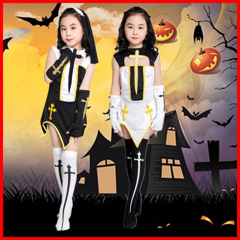 万圣节Cosplay六一儿童女童角色扮演十字修女舞台演出服装yc