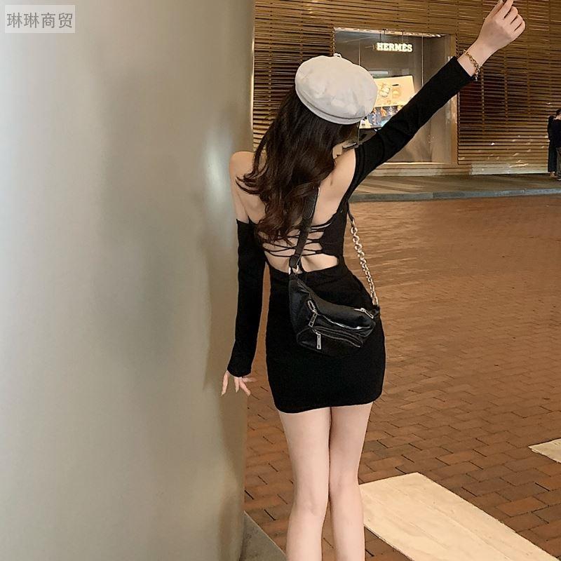 夜店连衣裙露背a字遮肚夜总会打底裙穿搭性感甜辣小黑裙夏季长袖