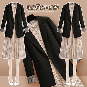 雪纺波点连衣裙打底早春装2021年新款女法式复古赫本西装两件套装