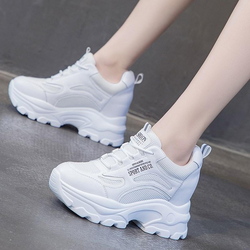 2020夏季新款内增高女鞋网面运动鞋透气小白鞋休闲厚底老爹鞋春季