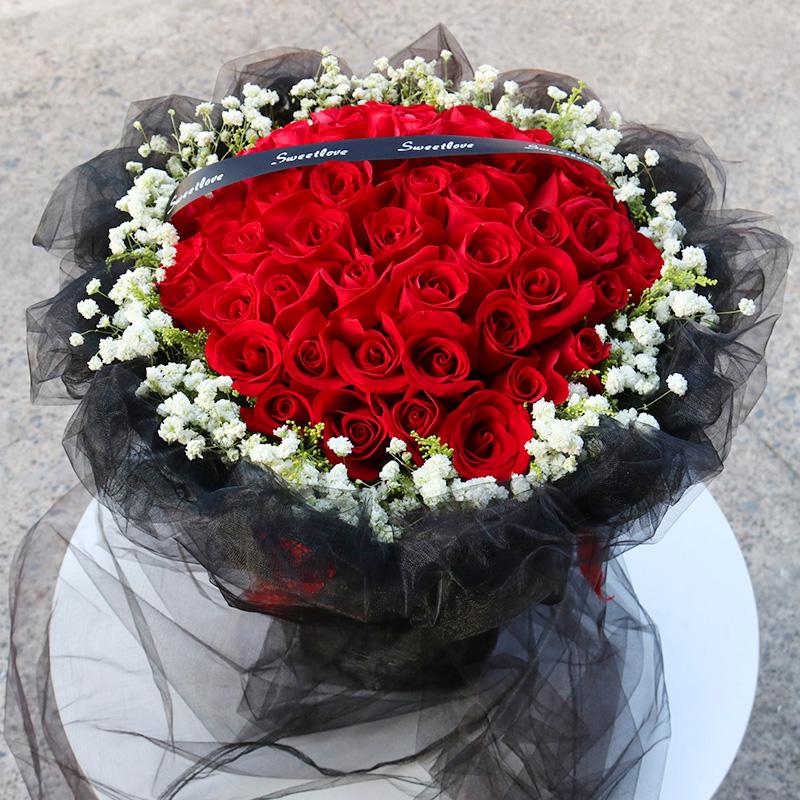 99朵红玫瑰花束礼盒生日鲜花速递连云港同城连云海州赣榆送本地花