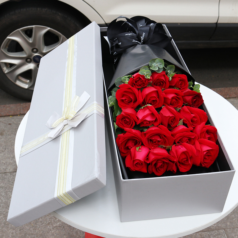 Luoyang 99 red rose bouquet gift box flowers express delivery in the same city old city Xigong jianxiluolong birthday gift shop
